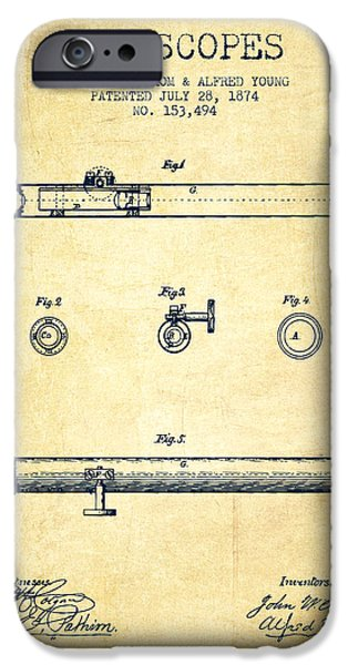 Telescope iPhone Cases - Telescope patent from 1874 - Vintage iPhone Case by Aged Pixel
