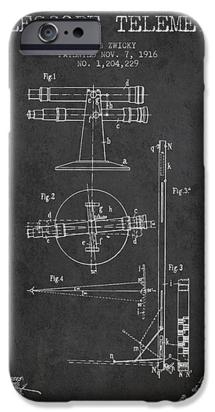 Telescope iPhone Cases - Telescope Telemeter Patent from 1916 - Charcoal iPhone Case by Aged Pixel