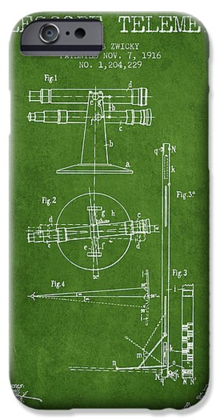 Telescope iPhone Cases - Telescope Telemeter Patent from 1916 - Green iPhone Case by Aged Pixel