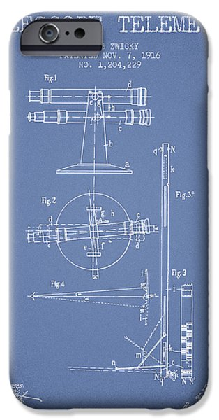 Telescope iPhone Cases - Telescope Telemeter Patent from 1916 - Light Blue iPhone Case by Aged Pixel