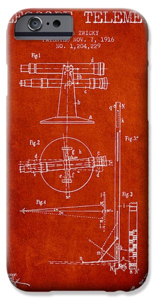 Telescope iPhone Cases - Telescope Telemeter Patent from 1916 - Red iPhone Case by Aged Pixel