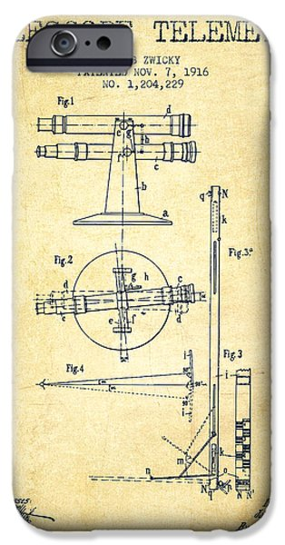 Telescope iPhone Cases - Telescope Telemeter Patent from 1916 - Vintage iPhone Case by Aged Pixel