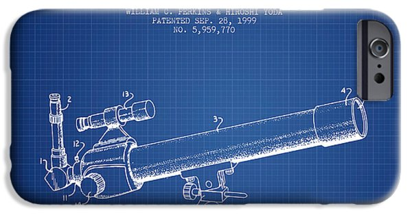 Telescope iPhone Cases - Telescope Zoom Lens Patent from 1999 - Blueprint iPhone Case by Aged Pixel