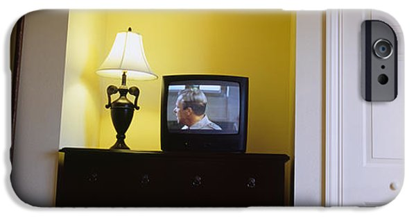 Absence iPhone Cases - Television And Lamp In A Hotel Room iPhone Case by Panoramic Images
