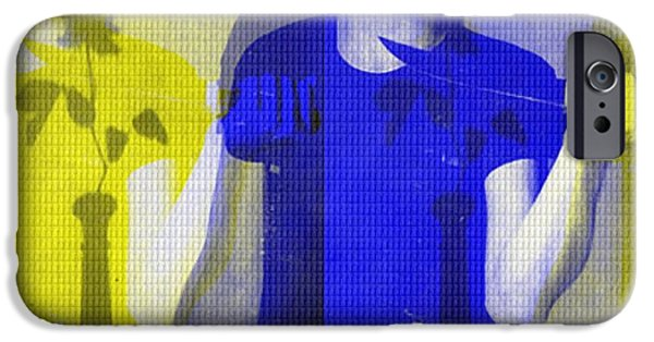 Mystifying iPhone Cases - Teller / Early Shadows - Blue and Yellow  iPhone Case by Elizabeth McTaggart