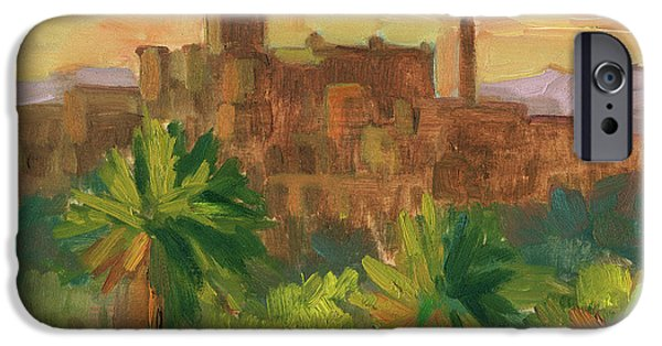 Village iPhone Cases - Telouet Kasbah iPhone Case by Diane McClary