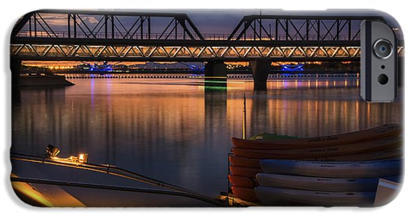 Reflecting Sunset iPhone Cases - Tempe Town Lake Canoes at Sunset iPhone Case by Dave Dilli