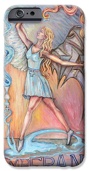 Angel Glass Art iPhone Cases - Temperance iPhone Case by Carl Geenen