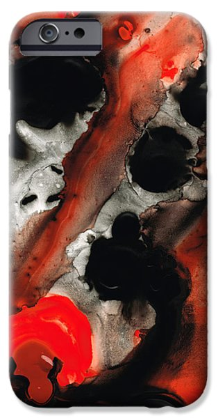 Red And Black iPhone Cases - Tempest - Red And Black Painting iPhone Case by Sharon Cummings