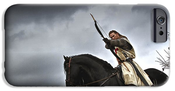 Fantasy Photographs iPhone Cases - Templar Knight Friesian I iPhone Case by Holly Martin