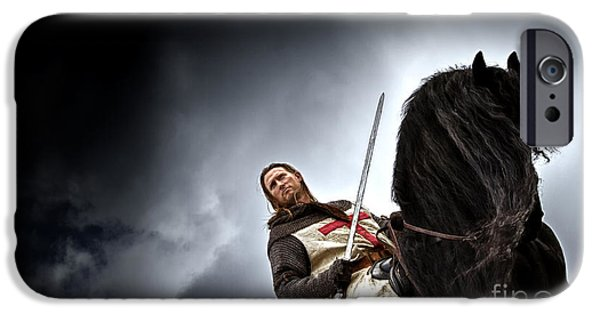Fantasy Photographs iPhone Cases - Templar Knight Friesian II iPhone Case by Holly Martin