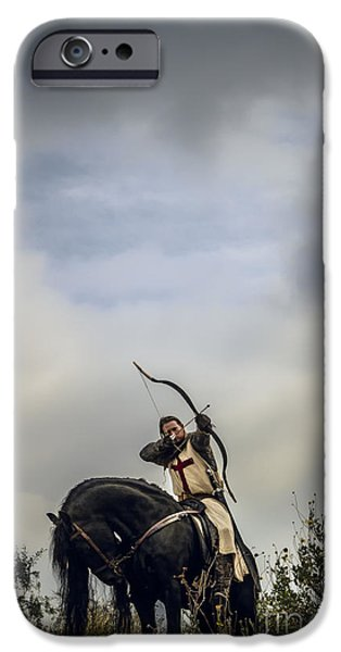 Fantasy Photographs iPhone Cases - Templar Knight Friesian III iPhone Case by Holly Martin