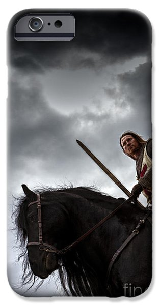 Fantasy Photographs iPhone Cases - Templar Knight Friesian IV iPhone Case by Holly Martin