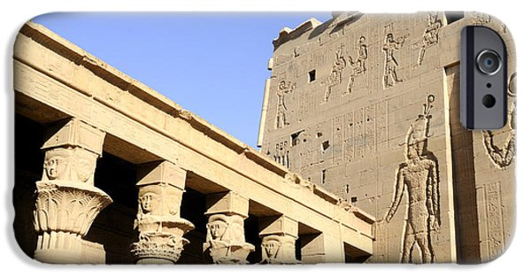 Hathor iPhone Cases - Temple at Philae in Egypt iPhone Case by Brenda Kean