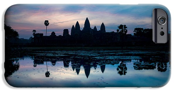 Buddhism iPhone Cases - Temple At The Lakeside, Angkor Wat iPhone Case by Panoramic Images