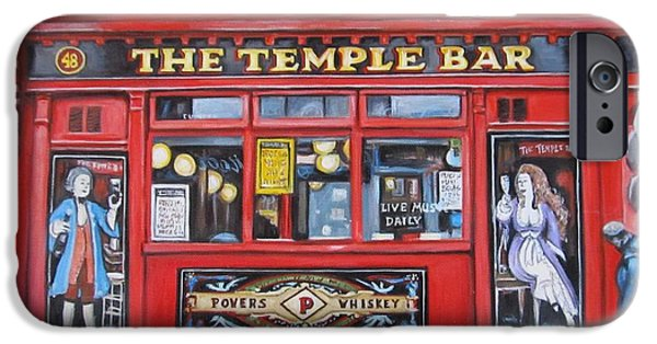 U2 Paintings iPhone Cases - Temple Bar Dublin Ireland iPhone Case by Melinda Saminski