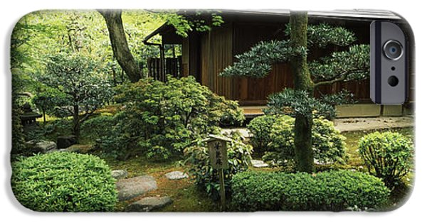 Buddhism iPhone Cases - Temple In A Garden, Yuzen-en Garden iPhone Case by Panoramic Images