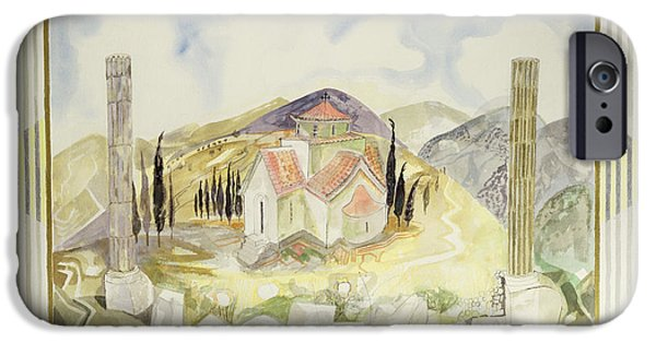 Flute iPhone Cases - Temple In Hosios Lukas Country From The Greek Experience Series, 1989 Wc iPhone Case by Michael Chase