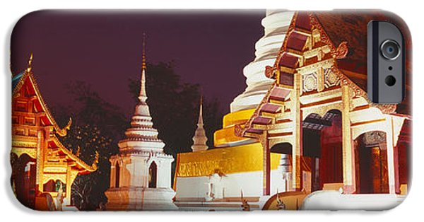 Buddhism iPhone Cases - Temple Lit Up At Night, Wat Phra Singh iPhone Case by Panoramic Images