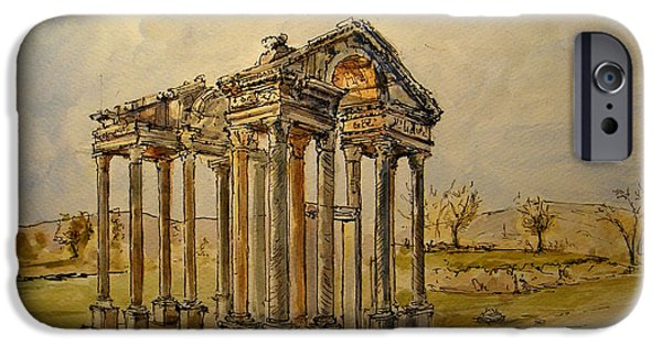 Ruin iPhone Cases - Temple of Aphrodite iPhone Case by Juan  Bosco