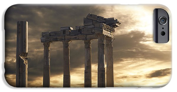 Ruins Pyrography iPhone Cases - Temple of Apollo in Side iPhone Case by Jelena Jovanovic