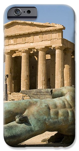 Temple of Concord and Icarus fallen iPhone Case by Robert Down