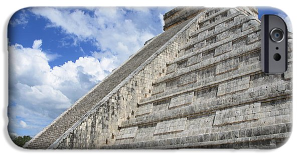 Ruins Pyrography iPhone Cases - Temple of Kukulcan at Chichen Itza iPhone Case by Yoshiko Wootten