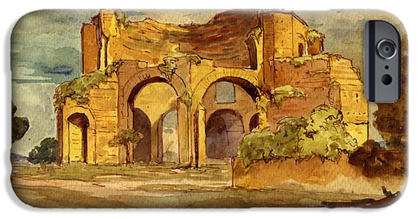 Original Watercolor iPhone Cases - Temple of Minerva Rome iPhone Case by Juan  Bosco