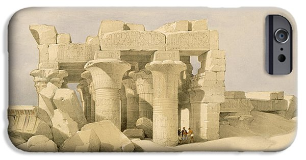 Horus iPhone Cases - Temple of Sobek and Haroeris at Kom Ombo iPhone Case by David Roberts