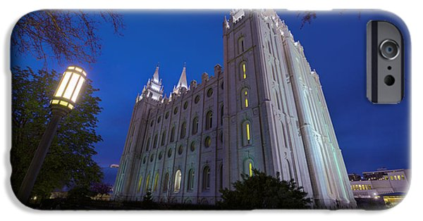 Angel Moroni iPhone Cases - Temple Perspective iPhone Case by Chad Dutson