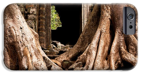 Tree Roots iPhone Cases - Temple Ruins 01 iPhone Case by Rick Piper Photography