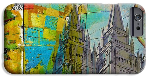 Abstract Expressionism iPhone Cases - Temple Square at Salt Lake City iPhone Case by Corporate Art Task Force
