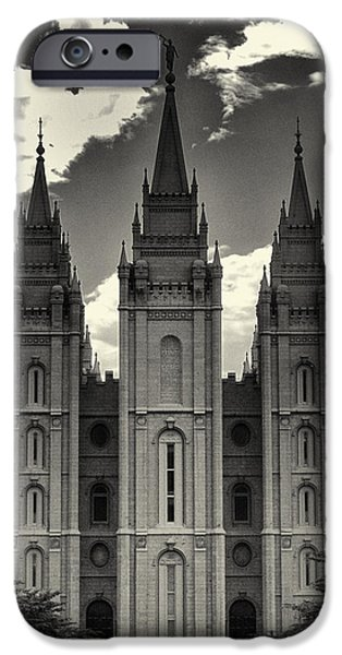 Angel Moroni iPhone Cases - Temple Square Black and White iPhone Case by Joshua House