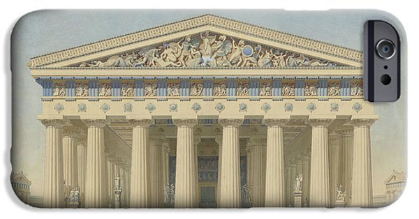 Sicily Paintings iPhone Cases - Temple T at Selinunte Sicily iPhone Case by Jacques Ignace Hittorff