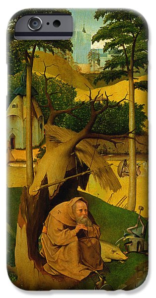 Contemplative Photographs iPhone Cases - Temptation Of St. Anthony, 1490 Oil On Panel iPhone Case by Hieronymus Bosch