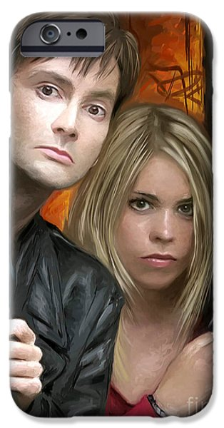 Dr Who iPhone Cases - Tenth Doctor and Rose iPhone Case by Dori Hartley