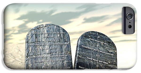 Tablet iPhone Cases - Ten Commandments Standing In The Desert iPhone Case by Allan Swart