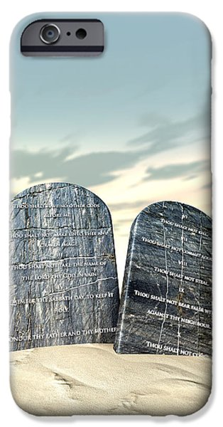 Ten Commandments Standing In The Desert iPhone Case by Allan Swart