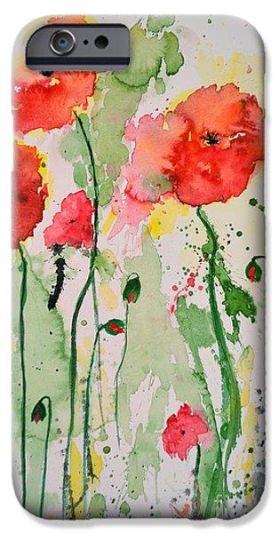 Ismeta iPhone Cases - Tender Poppies - Flower iPhone Case by Ismeta Gruenwald