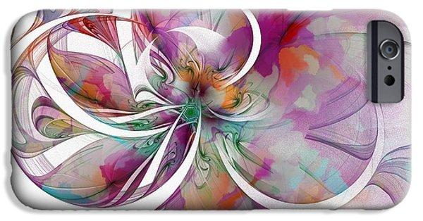 Floral Digital Art Digital Art iPhone Cases - Tendrils 01 iPhone Case by Amanda Moore