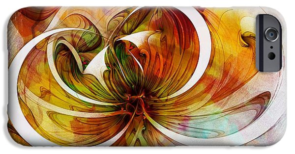 Abstract Digital iPhone Cases - Tendrils 14 iPhone Case by Amanda Moore