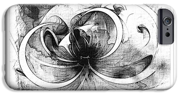 Floral Digital Art Digital Art Digital Art iPhone Cases - Tendrils in pencil 01 iPhone Case by Amanda Moore