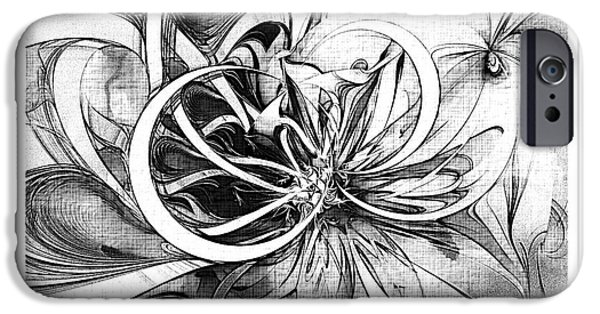 Floral Digital Art Digital Art Digital Art iPhone Cases - Tendrils in pencil 02 iPhone Case by Amanda Moore