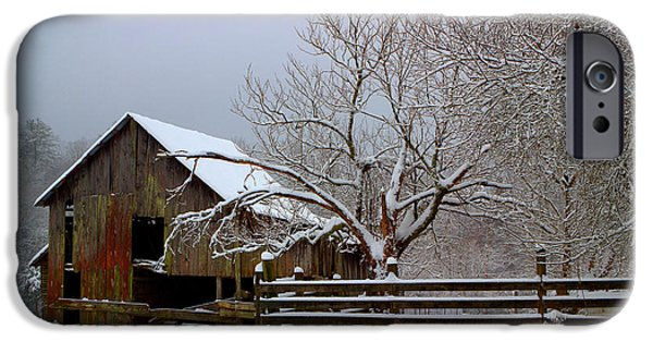 Snow iPhone Cases - Tennessee Barn And Snow iPhone Case by Michael Eingle