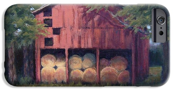 Janet King iPhone Cases - Tennessee Barn with Hay Bales iPhone Case by Janet King