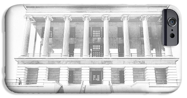 Tennessee Drawings iPhone Cases - Tennessee Capitol Building Sketch iPhone Case by Dan Sproul