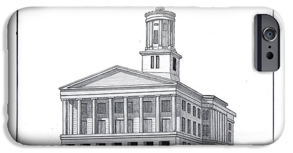 Tennessee Drawings iPhone Cases - Tennessee State Capitol iPhone Case by Frederic Kohli
