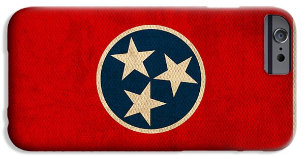 Nashville Tennessee iPhone Cases - Tennessee State Flag Art on Worn Canvas iPhone Case by Design Turnpike