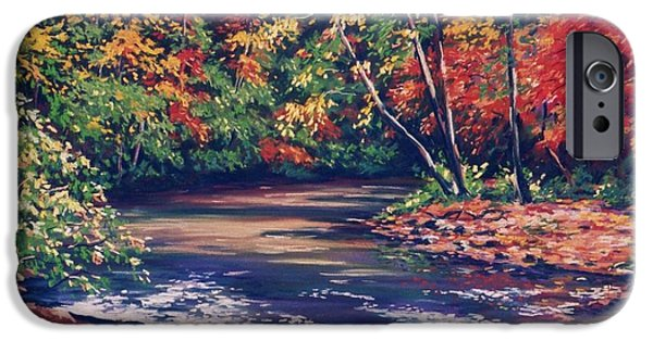 House Pastels iPhone Cases - Tennessee Stream in the Fall iPhone Case by John Clark