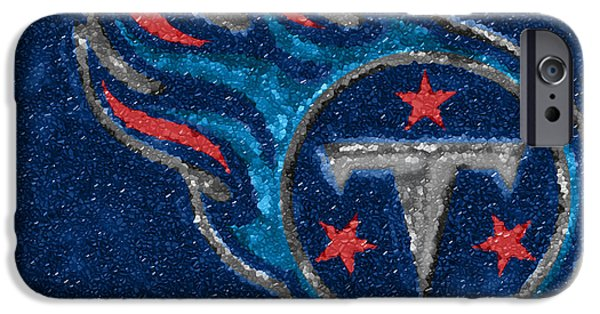 Mosaic iPhone Cases - Tennessee Titans Mosaic iPhone Case by Jack Zulli